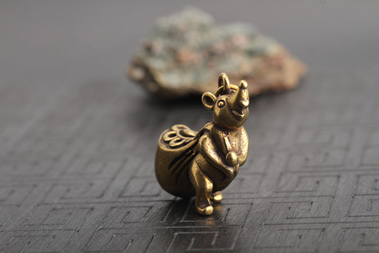 Copper Mouse Gold Money Bag Desk Ornaments Chinese Style Brass Animal Rat Miniatures Figurines Decorations Home Decor Crafts