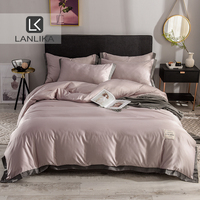 Lanlika Luxury Bedding Set 100% Silk Flat Sheet Bedspread Double Queen King European Bed Linen Set Duvet Cover Adult Home Decor