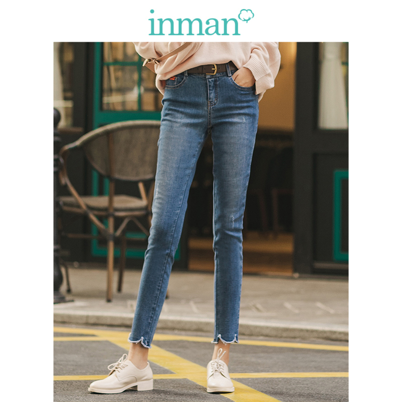 INMAN 2019 Winter New Arrival Embroidery Irregular Thin Women Long Jeans
