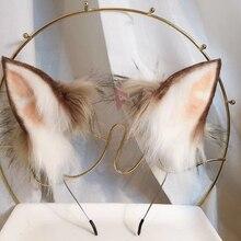 MMGGนมขนาดเล็กหมาป่าหมาป่าและแมวNeko FoxหูผมHoop Hand MadeทำงานHeadband Headwearสำหรับสาวผู้หญิง