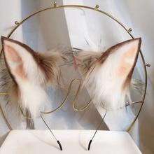 MMGG קטן חלב זאב זאבים וחתולים neko שועל אוזן שיער חישוק בעבודת יד בגימור כובעים לילדה נשים