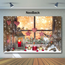 Neoback Christmas Window Decor Photography Backdrops Snowflake Bokeh Newborn Baby Kids Backdrop Toy Indoor Photo Background kate blue snow photo backdrop christmas with trees bokeh light backdrops fotografia washable and seamless baby shower backdrop