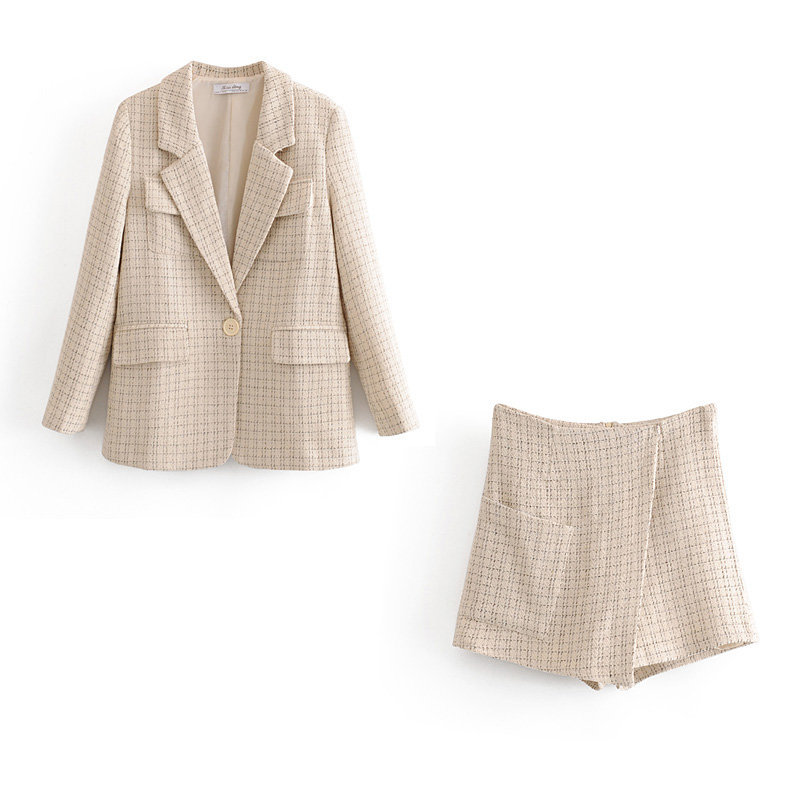 Temperament Women's Pants Set Two-piece Suit New Autumn Loose Woolen Plaid Long-sleeved Ladies Jacket Small Suit Casual Shorts