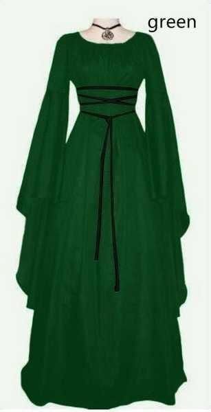 2019 새로운 여성 패션 빈티지 스타일 여성 중세 드레스 고딕 드레스 층 길이 여성 코스프레 드레스 레트로 긴 드레스 드레스