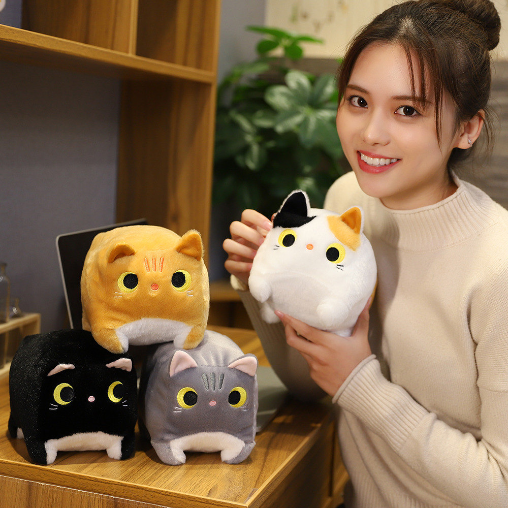 Japan Anime Black Cat Plush Doll Toy Yellow&White Square Party Cat Stuffed Animals Funny Cat Abstract Element Photography Decor