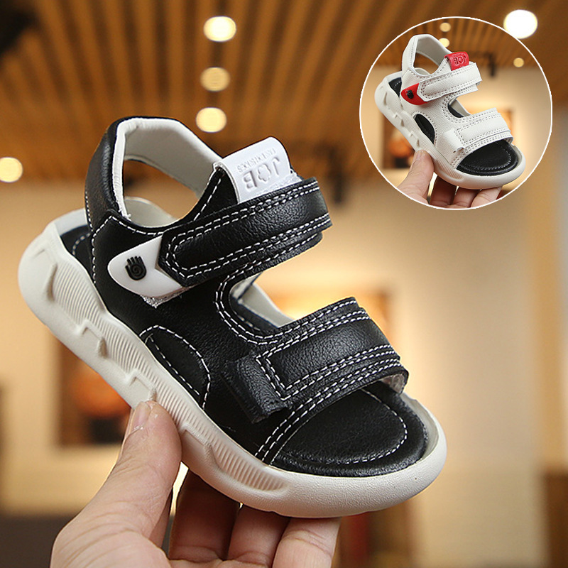 2020 Summer Boys Sandals Kids 2-12 Yrs Old Baby Boy Sandals Thick Soft Bottom Children Shoes Cut-outs White Beach Shoes D02123