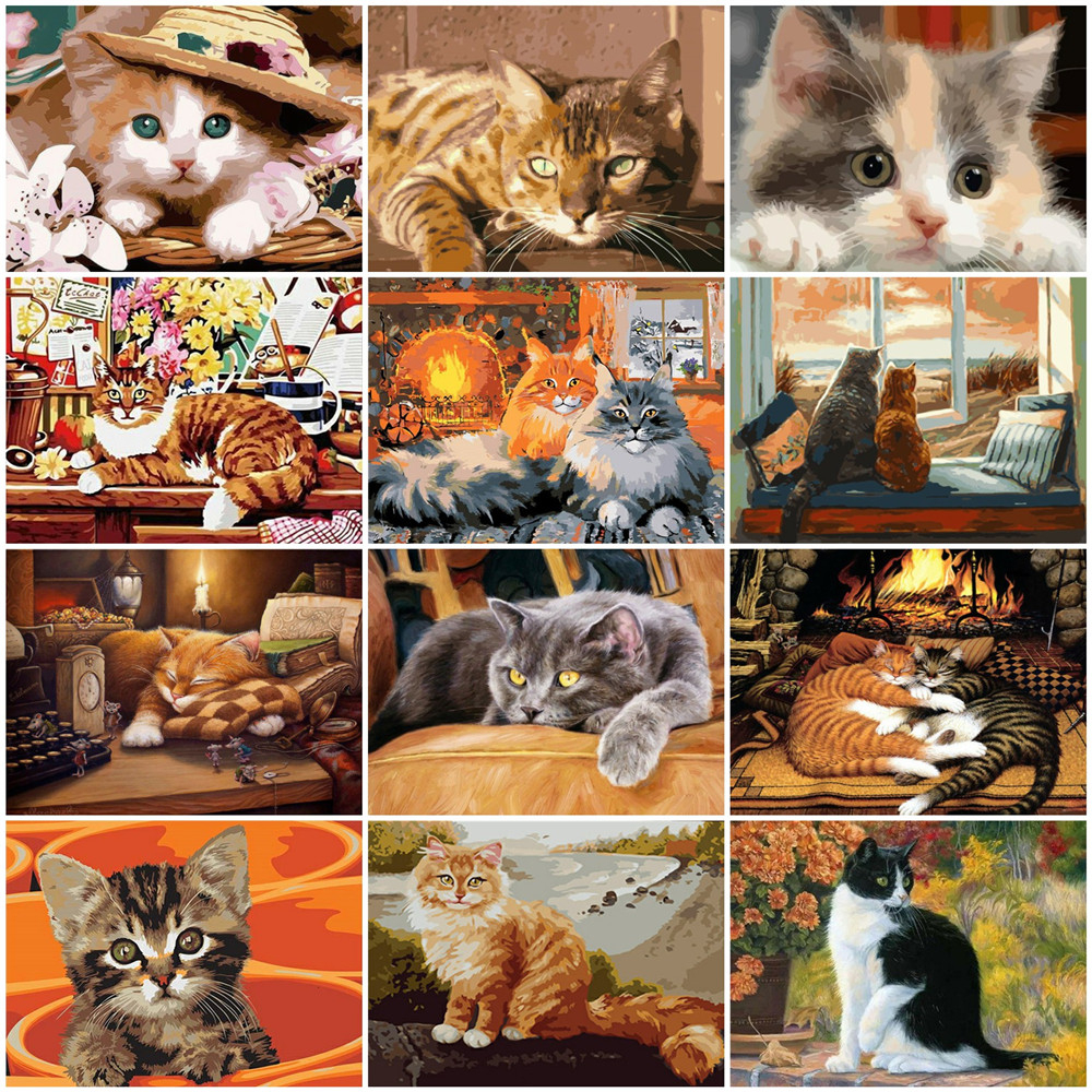 HUACAN Animal Picture By Numbers Cat Drawing On Canvas HandPainted Art Gift DIY Paint By Number Animal Kits Home Decoration