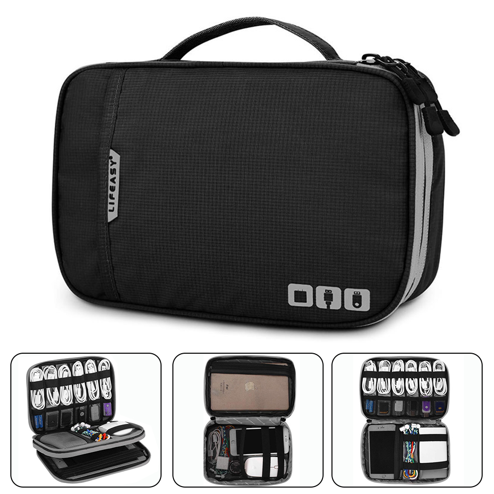 Electronic Accessories Thicken Cable Organizer Bag Portable Case for Hard Drives, Cables, Charge, Kindle, iPad mini-Black