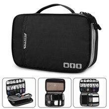 Утолщенная сумка Органайзер для кабелей, электронных аксессуаров, портативный чехол для жестких дисков, кабелей, зарядки, Kindle, iPad mini черный