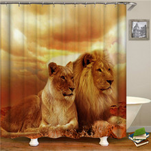 Tiger Shower Curtain Waterproof Wolf Bathroom Modern Animal  Bath With Accessories Home Decor