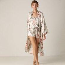 Shorts pijamas conjunto com roupões três peças conjunto de roupas para pijamas de cetim feminino cardigan sleepwear impresso meados de comprimento