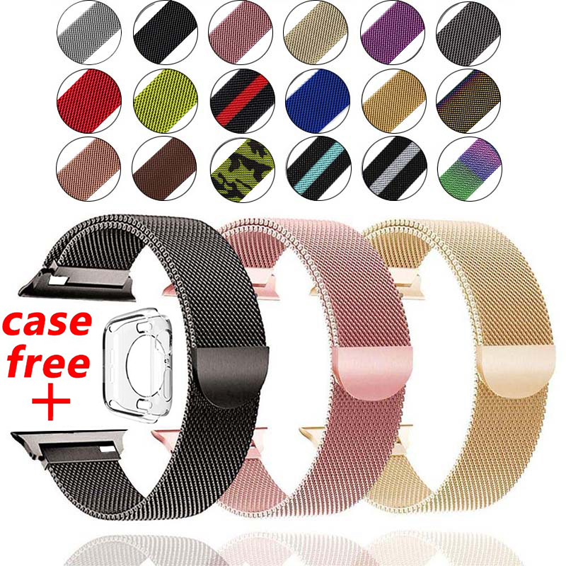 Milanese Loop Band For Apple Watch 5 4 40mm 44mm 3 2 38MM 42MM Stainless Steel Bracelet Strap For Iwatch Series Case For Free