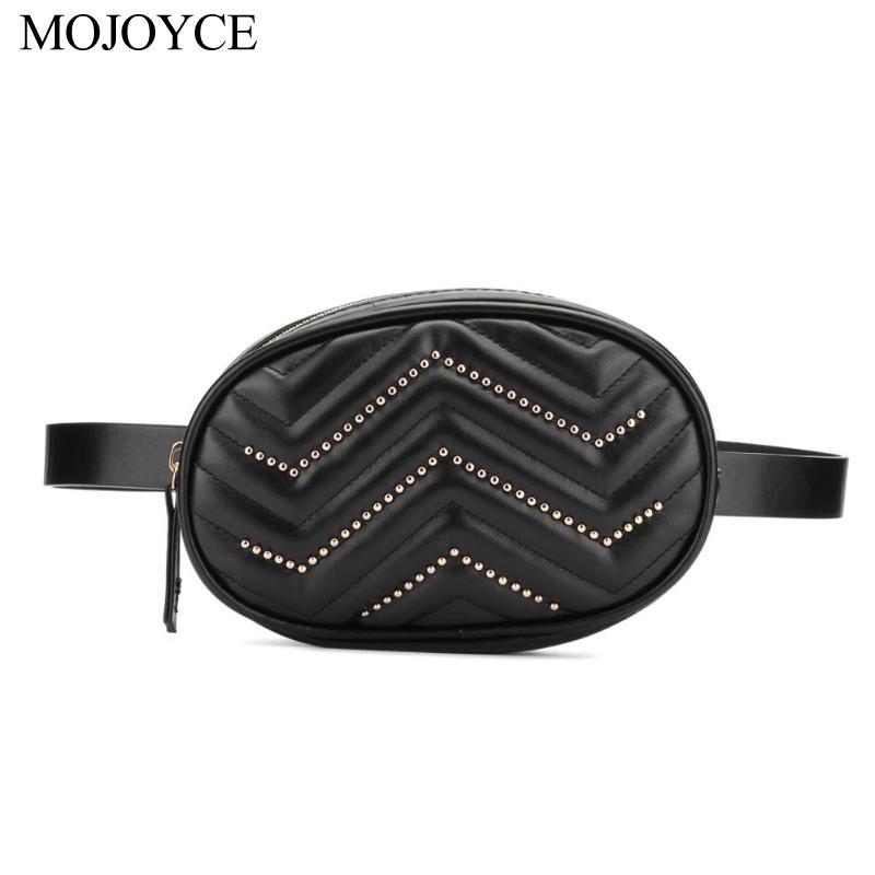Waist Bags Women Designer Fanny Pack Fashion Rivet Decor Women Waist Fanny Belt Packs Pure Color Leather Oval Chest Bags