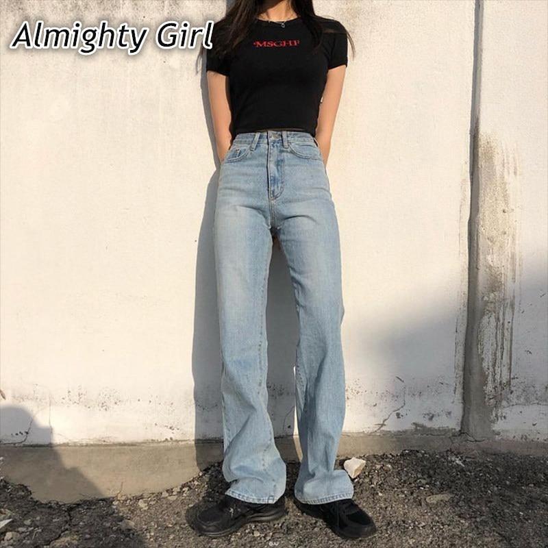 High Waist Jeans Woman 2019 Mom Denim Boyfriend Fashion Solid Wide Leg Casual Vintage Baggy Long Trousers Loose Pants Korean0123