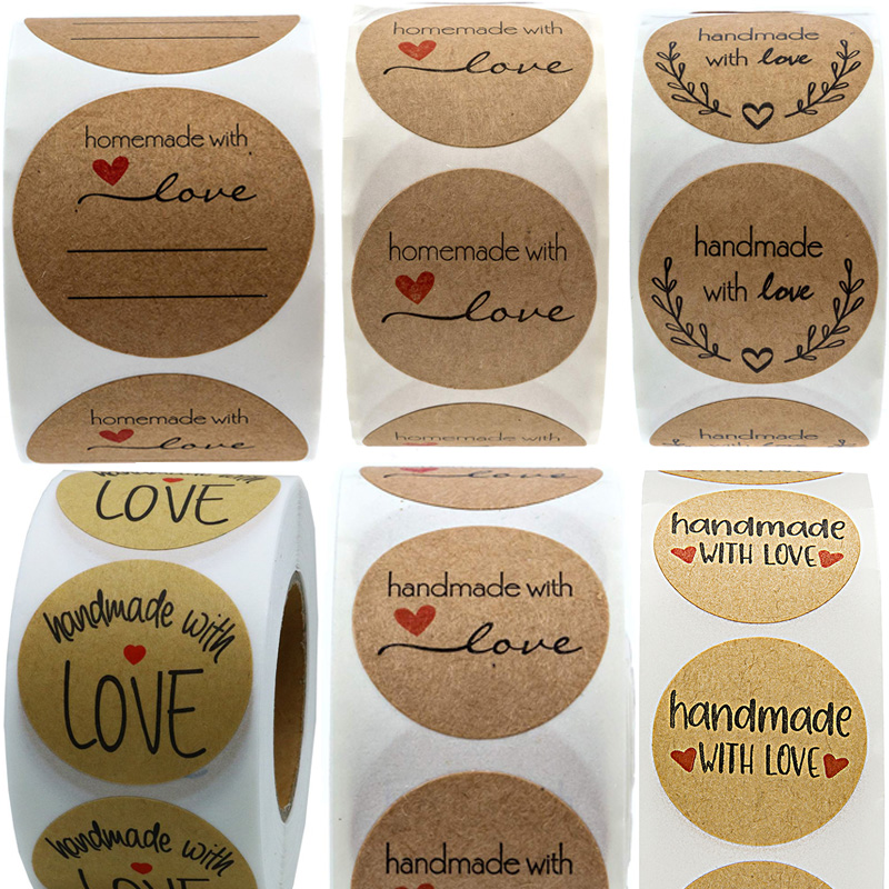 Hand Made With Love Sticker For Handmade Home Made Label To Writing Stickers  Gift Bakery Canning Bottle Bag Namecard Retail