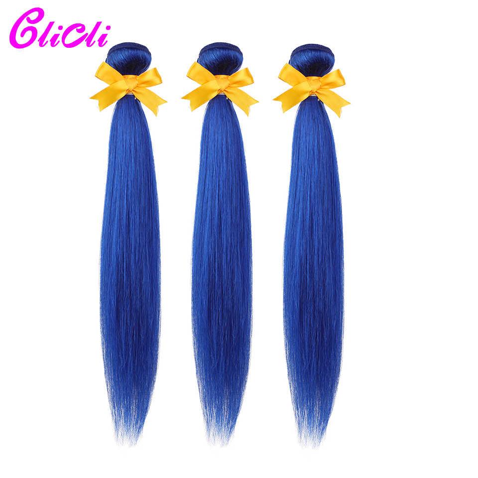 Paquetes de tejido de cabello humano malayo con cierre de color azul recto pelo no Remy 3 paquetes con 4x4 Cierres de encaje extensiones de