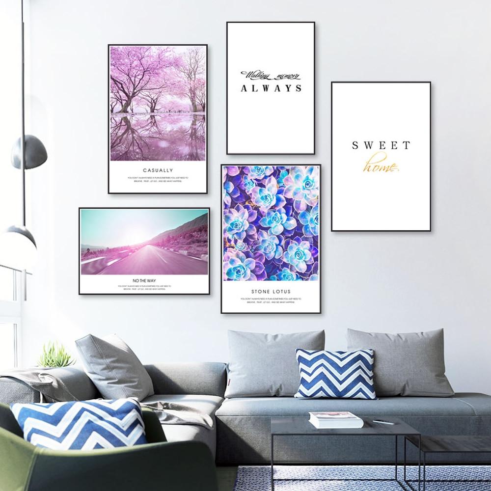 Скандинавский стиль фиолетовый холст печать постер для гостиной домашний декор минимализм Искусство Настенная картина холст живопись,