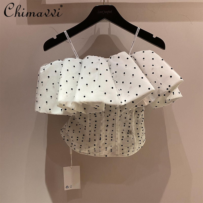 2021 Early Spring New Mesh Polka Dot Tube Top Women Off-the-Shoulder Strap Top for Lady Sexy Slimming Short Camisole