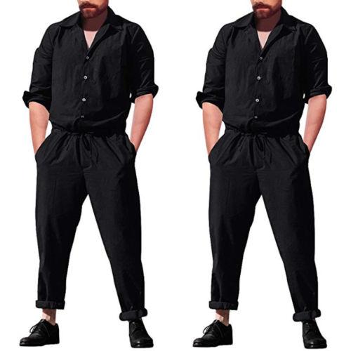 Hot Sale Fashion Plus Size Men Jumpsuit Solid Trousers Causal Slim Long One Piece Romper Long Sleeve Street Cargo Pants Ladies