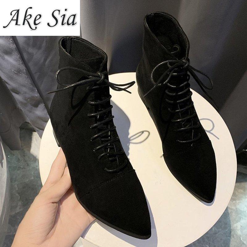 2020 nouveau hiver dames pointu épais avec sauvage noir bottines femme daim côté avec mode dentelle bottes courtes mujer | AliExpress