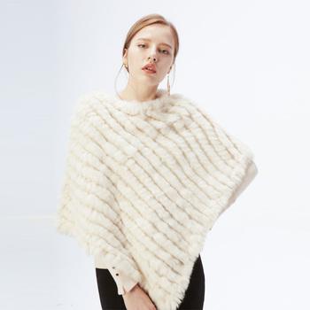 Ethel anderson futro sweter dla kobiet dzianiny prawdziwe futro z królika Poncho peleryny pani prawdziwe futro dzianiny okłady trójkąt szale kurtki tanie i dobre opinie Futra królika Prawdziwej skóry Norek futro Moda szczupła futro AO594-60YL Cienkie REGULAR WOMEN O-neck Bez rękawów