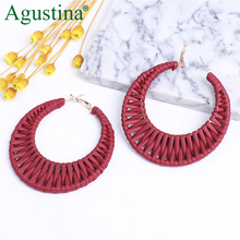 Agustina Hoop Leather Earrings Women Hoops Round Fashion Jewelry Luxury Red Drop Dangle Korean Earring Big CC