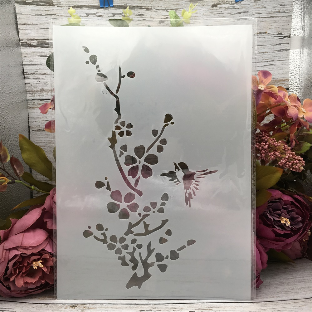 29*21cm A4 Plum Bird DIY Layering Stencils Wall Painting Scrapbook Coloring Embossing Album Decorative Template