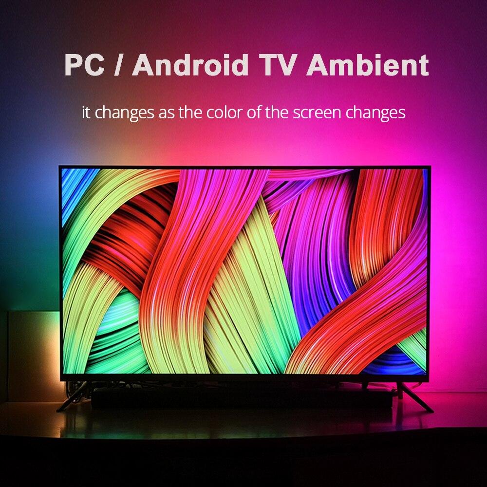 1/2/3/4/5m tv ambiente led tiras usb conjunto completo led fita de luz hdtv computador sonho cor sincronização com tela diy backlight strip kit
