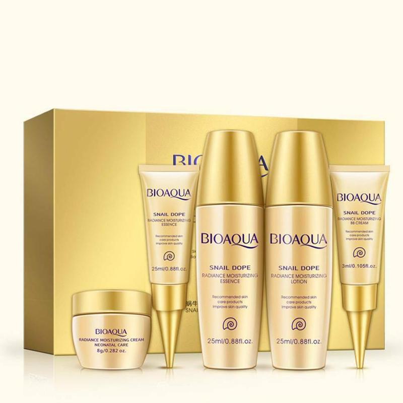 5pcs BIOAQUA Snail Cream Set Face Serum Whitening Cream Snail Hyaluronic Acid Anti Aging Wrinkle Moisturizing Face Cream