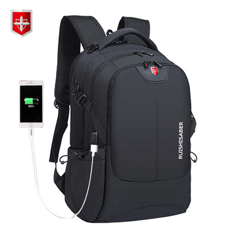 Swiss Ransel Nilon Tahan Air Unisex Laptop Charger Ransel Kasual Tas Sekolah Perjalanan Mochila untuk 15-17 inci