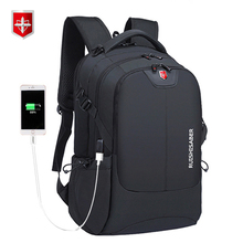 Swiss Waterproof Nylon Backpack Unisex Men's Laptop phone charger Backpack Casual School Bags Travel mochila for 15 to 17 inch