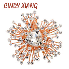 CINDY XIANG Rhinestone Flower Brooch Shining Crystal Wedding Brooches For Women Autumn Style Design Pin 2 Colors Avaibale New