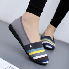 Spring Autumn Women Flat Shallow Loafers Canvas Shoes Female Casual Shoes Mother Slip On Soft Flat Shoes Ladies Walk Flat Shoes cheap ZZPOHE Basic Rubber Slip-On Fits true to size take your normal size Sewing Spring Autumn striped Adult tao bao bu xie Round Toe