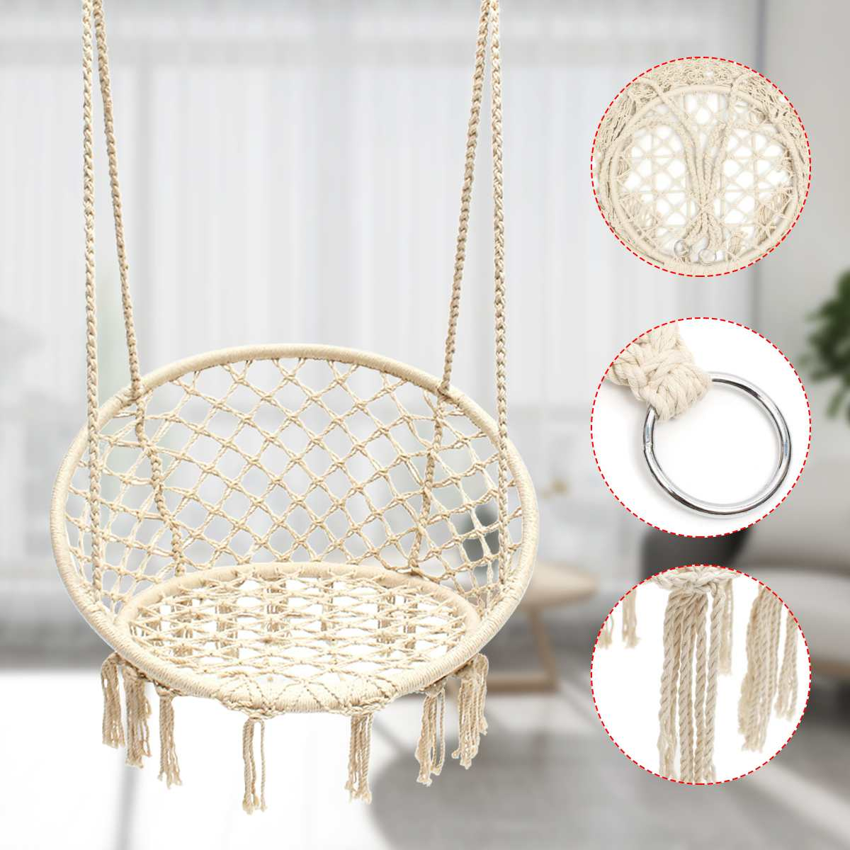 Outdoor Indoor Handmade Knitted Round Hanging Hammock Chair Nordic Style Dormitory Bedroom Baby Kid Hanging Chair Children Swing