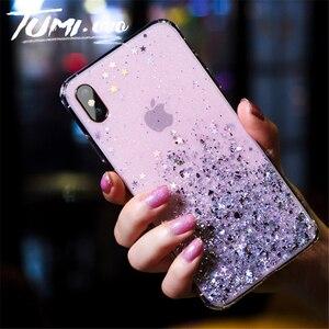 Простой чехол из серебристой фольги со звездочками и блестками для iPhone 6 6S 7 8 Plus X Xr Xs Max, мягкий чехол для телефона из ТПУ, силиконовый чехол