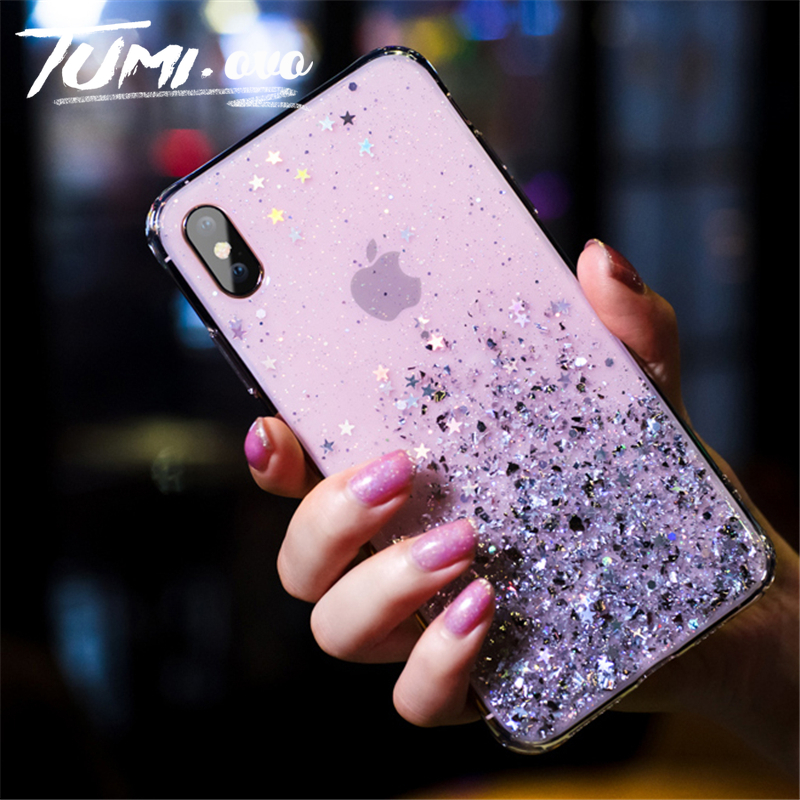 Simple Silver Foil Star Bling Glitter Back Phone Cover For <font><b>iPhone</b></font> 6 6S <font><b>7</b></font> 8 Plus X Xr Xs Max Soft TPU Phone Case Silicon Cover image