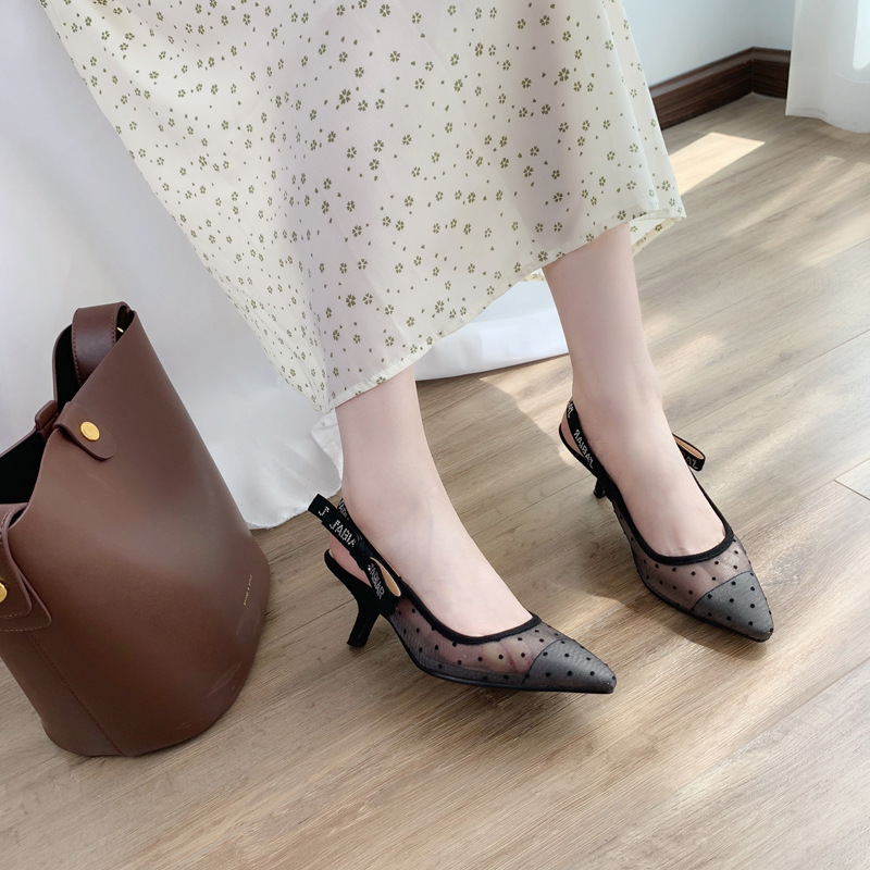 2019 Koovan Women Flats mesh Sandals Silk Yarn Wavy Bow Pointed Dew Single Flat Roman Women's Shoes Girls Sexy Shoes