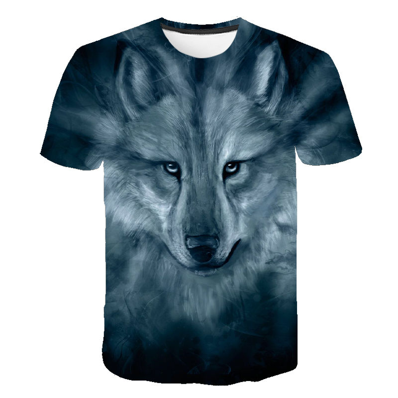 Summer T Shirt Men Women Streetwear Short Sleeve Tees Tops Funny Animal Casual Wolf 3D Print Tshirt Children Boy Girl T-shirt