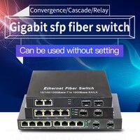 10 port Gigabit Ethernet Network Switch 1000M Media Converter 2 sfp fiber port and 2 4 8 rj45 port 2G4E Fiber Optic Transceiver