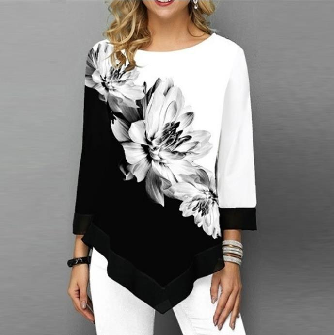 Fashion Hem Irregularity Women's Shirt Spring Summer Printed O-neck 3/4 Sleeve Blouse Casual Flower Shirts Black Tops Plus Size