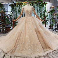 HTL809 champagne wedding gowns or bride beading appliques v neck lace up spaghetti straps long wedding dress abito da sposa 2019