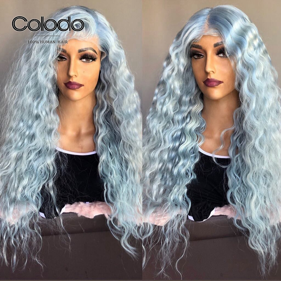 COLODO Pre Plucked Baby Blue Wig Brazilian Remy Curly Human Hair Wig Brown Hightlight 13x6 Lace Front Wigs with Natural Hairlin