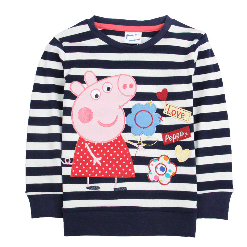 Peppa Pig Anime Autumn Girl Baby Children T-shirts Tee Long Sleeve Sport Sweatshirt Cotton Girl Clothing 1-6Y