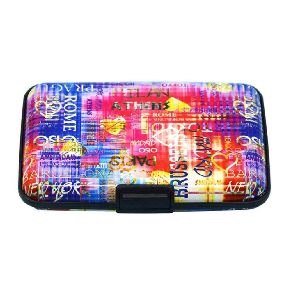 Moda kobiety kolor metalu drukuj chroń kartę pojemnik na pudełko portfele na karty kredytowe Student śliczne identyfikatory portfel etui torba klips Bolsas