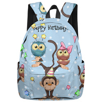 WHEREISART Cartoon Owl Monkey With Happy Birthday Backpacks Tactical Backpacks Notebook Backpack Scratch Resistant The Lovers