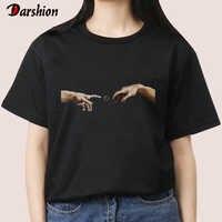 Fashionable Women's T -shirt Black Girls' T -Shirt Popular Girls' Tops For Female 2019 Round Neck Women's Shirt White Clothes