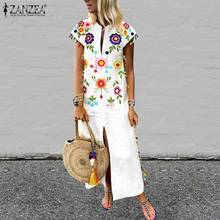 ZANZEA  Bohemian Floral Printed Sundress Plus Size Women Summer Short Sleeve Split Hem Long Vestido Robe Casual Tassels Dress