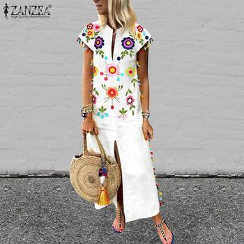 ZANZEA  Bohemian Floral Printed Sundress Plus Size Women Summer Short Sleeve Split Hem Long Vestido Robe Casual Tassels Dress цена 2017