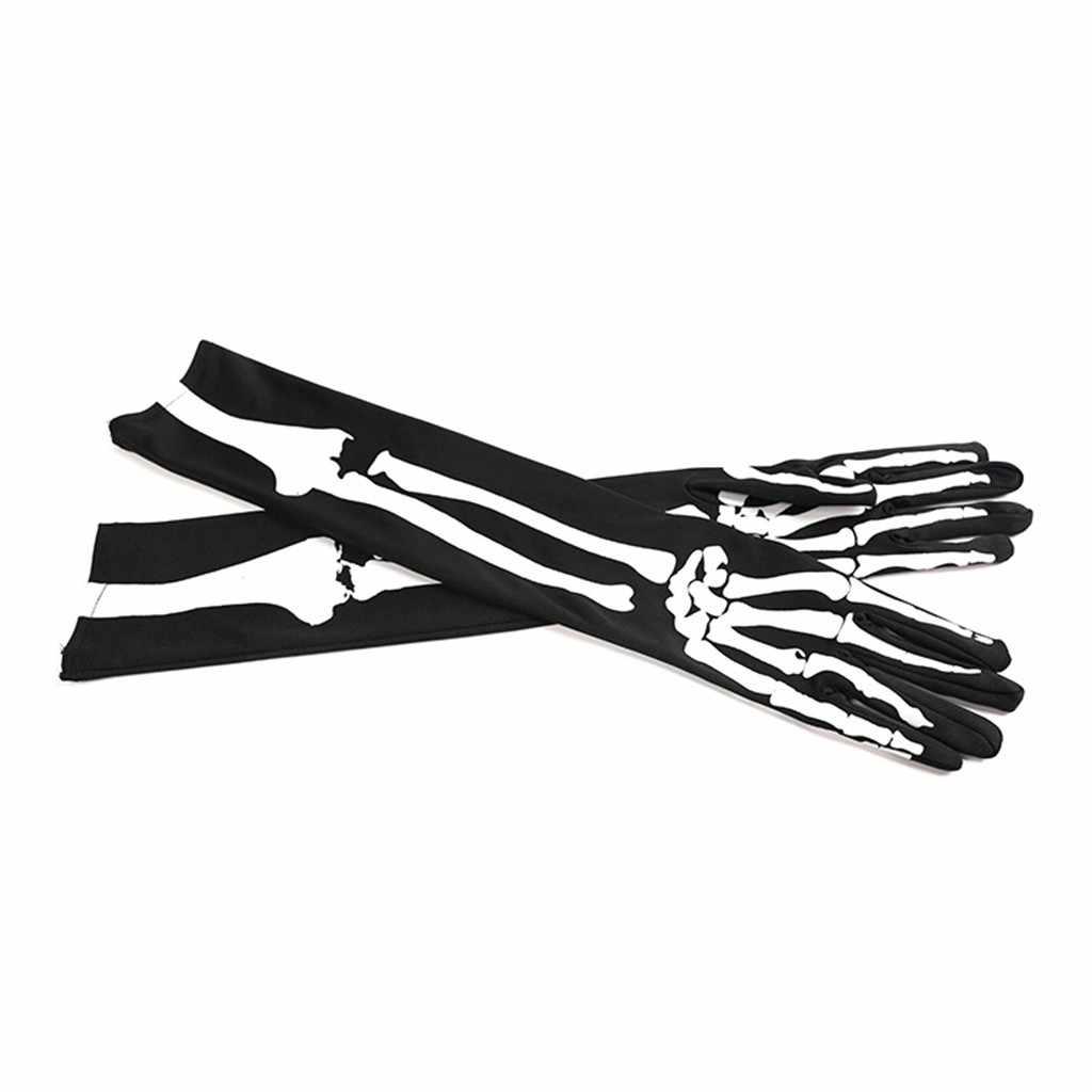2019 outono inverno novos homens e mulheres halloween longo branco-osso mão manga crânio luvas carnaval fantasia vestido luvas # o11