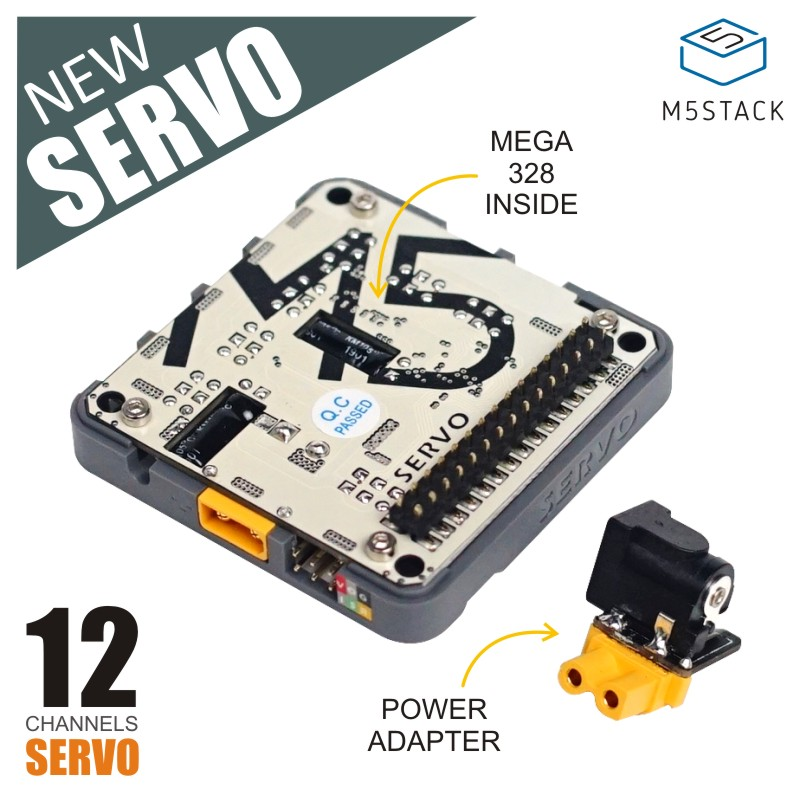 M5Stack New SERVO Module Board 12 Channels Servo Controller With MEGA328 Inside & Power Adapter 6-24V For Arduino/Blockly
